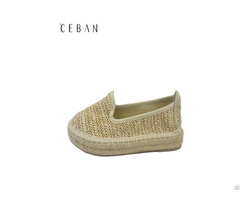 Women Platform Shoes Jute Ramie Weave Pumps Footwear
