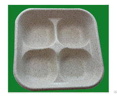 Eco Friendly Sanitary Custom 4 Cavity Food Paper Tray