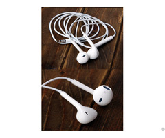 White Strong Bass Driver Stereo Sound Volume Control Earphone With Mic For Apple