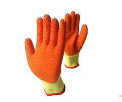 China Cheap Price High Quality Orange Crinkle Finish Cotton Black Latex Gloves