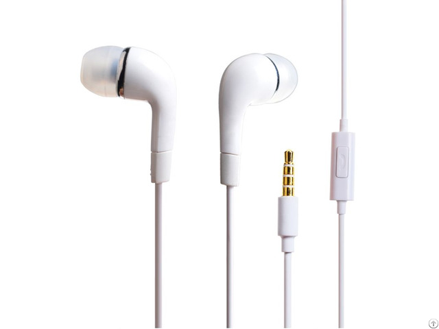 Round Cable White Earphone With Mic For Samsung
