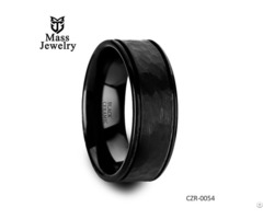 Hammered Finish Center Black Ceramic Wedding Band With Dual Offset Grooves And Polished Edges