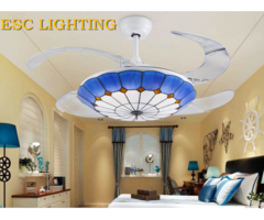 Modern Mediterranean Style Decorative Living Room Ceiling Fan With Light Colorful Lampshade