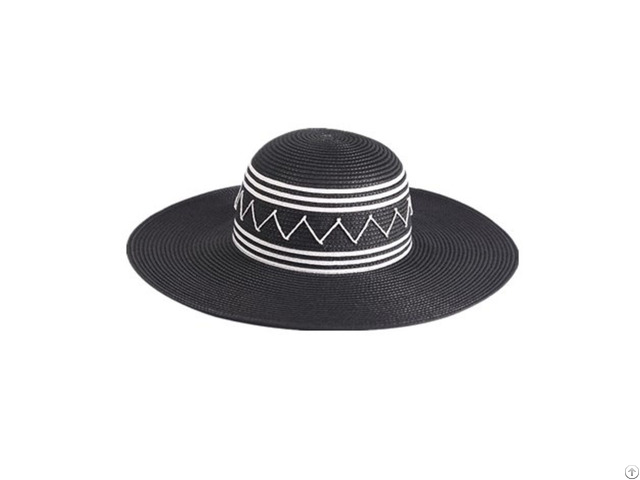 Black Paper Braid Floppy Hat