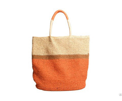 Paper Striped Straw Beach Bag