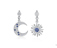 Personality 925 Silver Dangles Jewelers Moon And Star Earrings