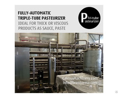 5tph Fully Automatic Triple Tube Sterilization Machine Tubular Pasteurizer