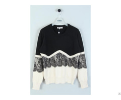 Lace Patched Knitted Jumper