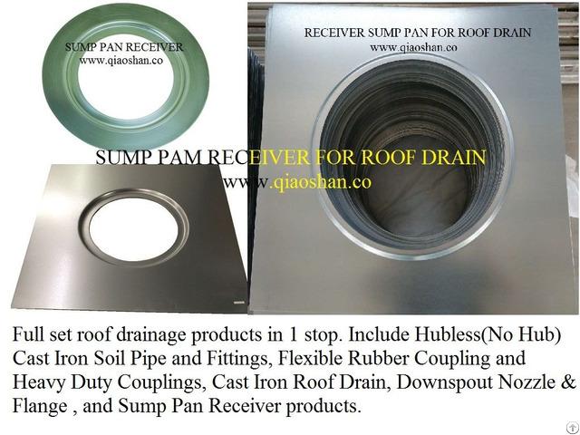 "Square Sump Pan Receiver For 15 1 4"" Diameter Cast Iron Roof Drain"