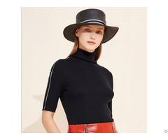 Women Relax Fit High Collar Wool Short Sleeves Pullover Sweater