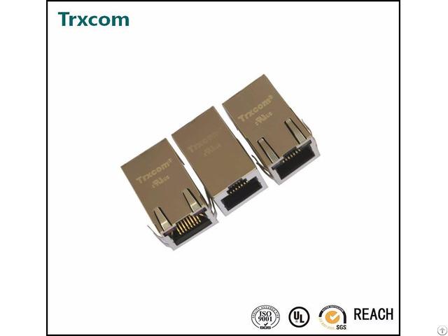 Trj0012gdnl Tab Down With Led Rj45 Connector