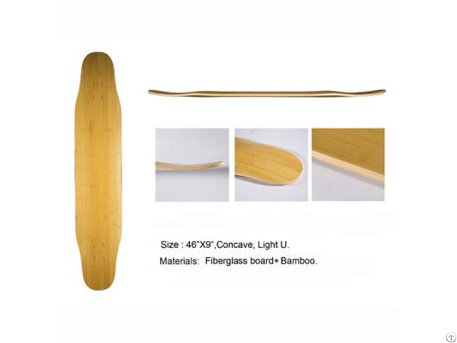 Bamboo Hot Selling High Quality Glassfiber Longboard Deck Dancing Skateboard Wholesale