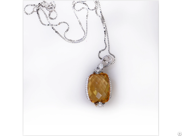 Citrine Pendant 925 Sterling Silver Customized Jewelry Manufacturer