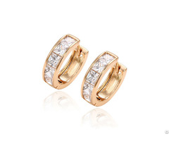 White Zircon Yellow Gold Planting Earrings Customized Jewelry Manufacturer 925 Sterling Silver
