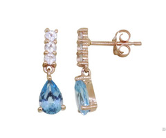Yellow Gold Planting Earrings 925 Sterling Silver Customized Jewelry Manufacturer Swiss Blue Topaz