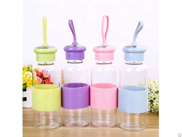 Wholesale 500ml Portable Glass Water Bottle