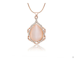 Pink Opal And White Zircon Customized Necklace