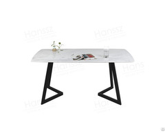 Marble Top Dining Table With Stainless Steel Legs