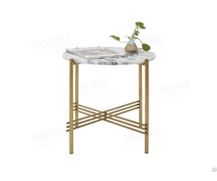 Natural Italian Lilac White Stone Tables Golden Metal Legs Coffee Table Marble