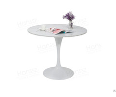 Elegant White Metal Base Carrara Stone Top Restaurant Marble Table