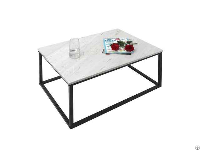 White Marble Top Stainless Steel Coffee Table