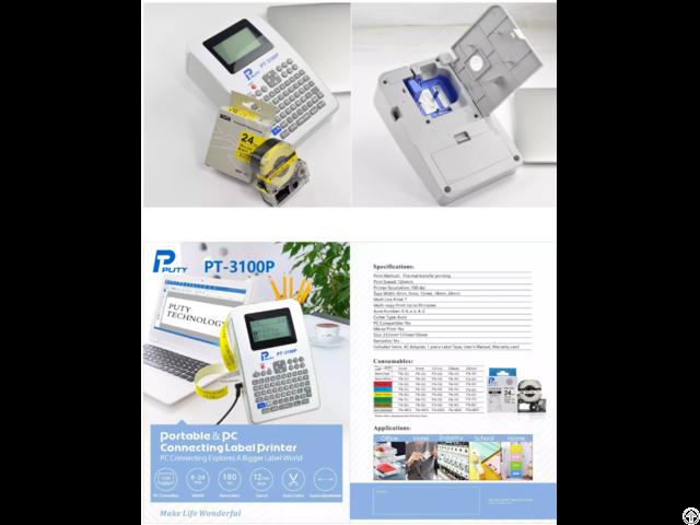 24mm Printing Puty Pt 3100p Full Size Thermal Transfer Heat Label Printer
