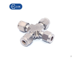 Stainless Steel 4 Way Union Type Tubing Fitting Cross Pipe Fittings